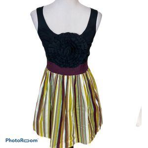 Anthropologie Burlapp Rosette Striped Dress Small